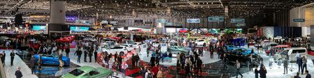 GENEVA, SWITZERLAND - MAR 7, 2018: Stitched panoramic view of the 88th Geneva International Motor Show