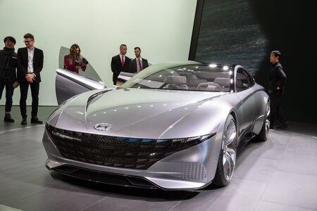 GENEVA, SWITZERLAND - MARCH 7, 2018: New Hyundai Le Fil Rouge Concept car showcased at the 88th Geneva International Motor Show.