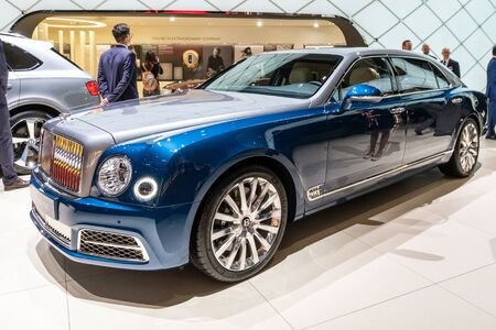 GENEVA, SWITZERLAND - MARCH 6, 2018: Bentley Mulsanne luxury car showcased at the 88th Geneva International Motor Show.