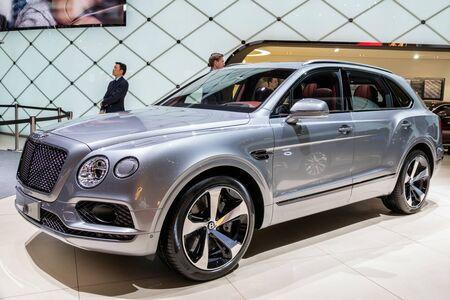 GENEVA, SWITZERLAND - MARCH 6, 2018: Bentley Bentayga car showcased at the 88th Geneva International Motor Show.
