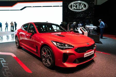 GENEVA, SWITZERLAND - MARCH 6, 2018: Kia Stinger car showcased at the 88th Geneva International Motor Show.