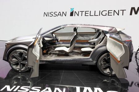 GENEVA, SWITZERLAND - MARCH 6, 2019: Nissan IMQ hybrid crossover concept car debut showcased at the 89th Geneva International Motor Show.