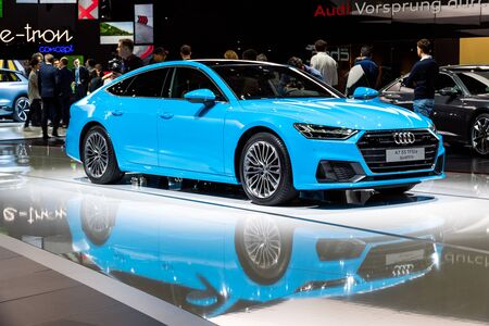 GENEVA, SWITZERLAND - MARCH 5, 2019: Audi A7 quattro car showcased at the 89th Geneva International Motor Show. Redactioneel