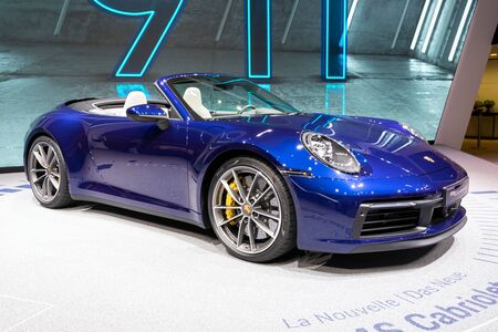 GENEVA, SWITZERLAND - MARCH 5, 2019: Porsche 911 Carrera S Cabriolet sports car debut at the 89th Geneva International Motor Show. Editorial
