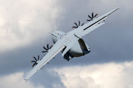 LE BOURGET PARIS - JUN 21, 2019: French Air Force Airbus A400M military transport plane flying demonstration at the Paris Air Show. Éditoriale