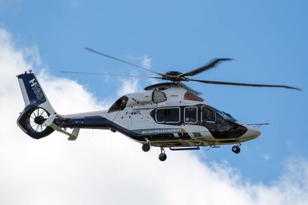 LE BOURGET PARIS - JUN 21, 2019: Airbus H160 helicopter in flight during the Paris Air Show. Editorial