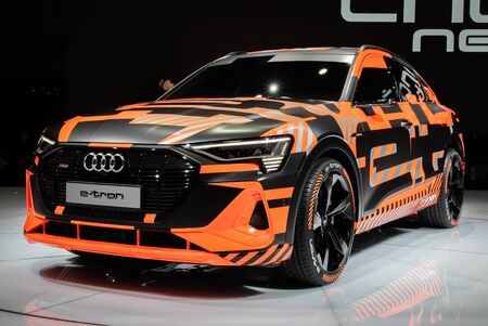 GENEVA, SWITZERLAND - MARCH 6, 2019: Audi E-Tron Sportback electric SUV coupe car showcased at the 89th Geneva International Motor Show. Editorial