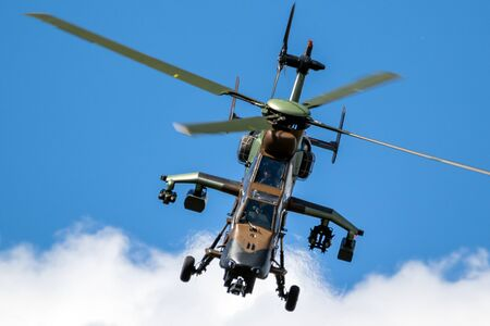LE BOURGET PARIS - JUN 21, 2019: French Army Eurocopter Airbus EC-665 Tiger attack helicopter at the Paris Air Show.