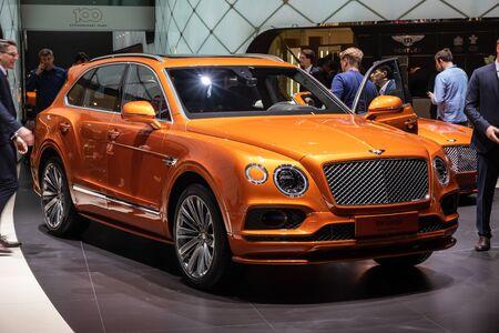 GENEVA, SWITZERLAND - MARCH 5, 2019: Bentley Bentayga car showcased at the 89th Geneva International Motor Show.