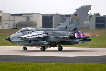 JAGEL, GERMANY - JUN 12, 2019: TLG-51 German Air Force Panavia Tornado fighter bomber jet plane taking off with afterburner from it's homebase.