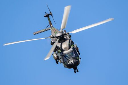 LE BOURGET PARIS - JUN 21, 2019: French Army NH90 transport helicopter flying at the Paris Air Show. Banque d'images - 128466331