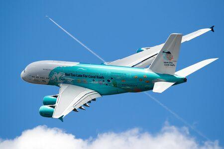 LE BOURGET PARIS - JUN 21, 2019: Save The Coral Reefs Special livery Airbus A380 passenger plane performing at the Paris Air Show. Redakční