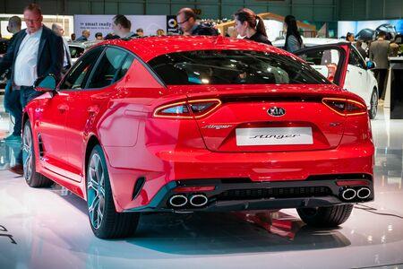GENEVA, SWITZERLAND - MARCH 6, 2019: Kia Stinger car showcased at the 89th Geneva International Motor Show. Editorial