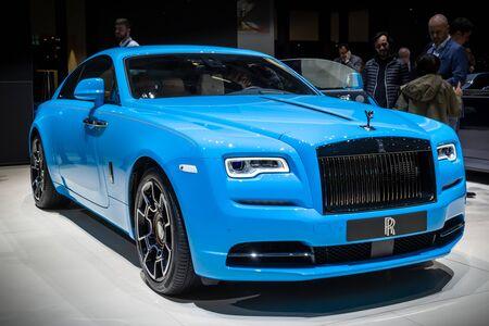 GENEVA, SWITZERLAND - MARCH 6, 2019: Rolls Royce Wraith Coupe 6.6 luxury car showcased at the 89th Geneva International Motor Show.