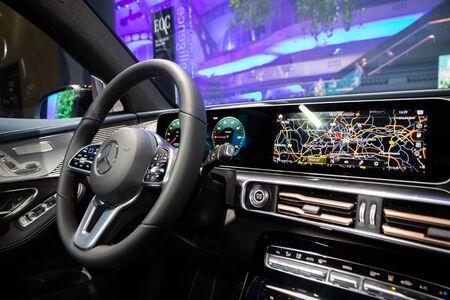 FRANKFURT, GERMANY - SEP 11, 2019: Interior dashboard view of the Mercedes Benz EQC 400 electric SUV car showcased at the Frankfurt IAA Motor Show 2019.