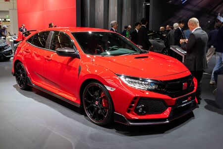 FRANKFURT, GERMANY - SEP 10, 2019: Honda Civic Type-R car showcased at the Frankfurt IAA Motor Show 2019.