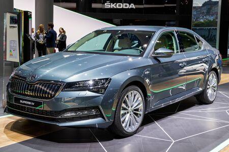 FRANKFURT, GERMANY - SEP 11, 2019: New 2020 Skoda Superb iV plug-in hybrid car showcased at the Frankfurt IAA Motor Show 2019. Editorial