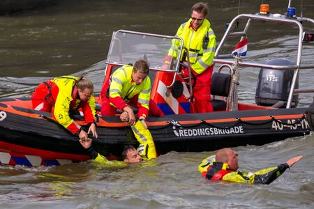 ROTTERDAM, NETHERLANDS - SEP 3, 2016: Search And Rescue demonstration during the World Harbor Days. Editorial
