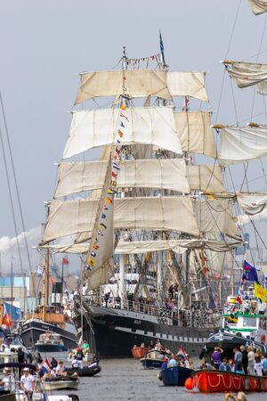 AMSTERDAM, NETHERLANDS - AUGUST 19, 2015: Barque sailing ship Belem in the North Sea Canal enroute to Amsterdam to particiate in the SAIL 2015 event.