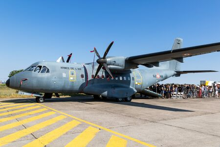 NANCY, FRANCE - JUL 1, 2018: French Air Force Casa CN-235 transport plane on the tarmac at Nancy Airbase.