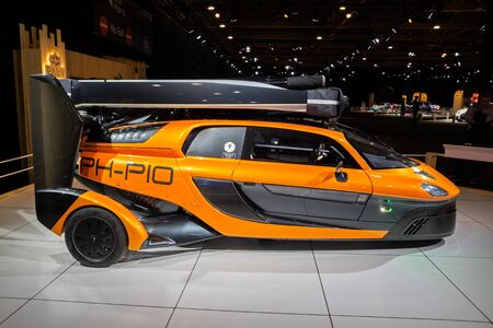 BRUSSELS - JAN 9, 2020: PAL-V Liberty flying car showcased at the Brussels Autosalon 2020 Motor Show. Editorial