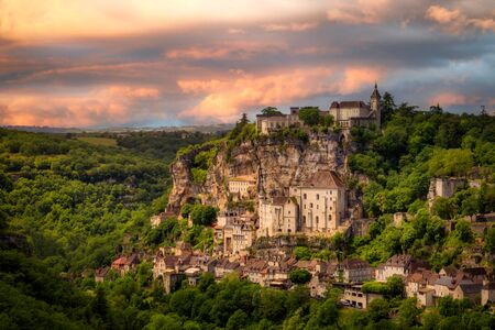 Rocamadour, a village in southwestern France. The sanctuary here has attracted pilgrims from many countries for centuries. Stock Photo