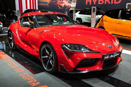 BRUSSELS - JAN 9, 2020: Toyota GR Supra  car model showcased at the Brussels Autosalon 2020 Motor Show.
