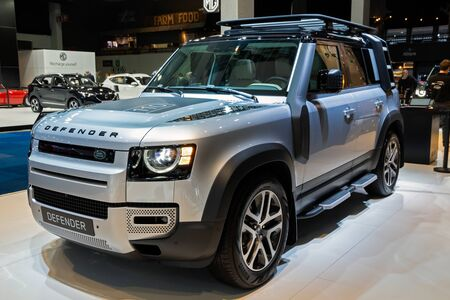 BRUSSELS - JAN 9, 2020: New Land Rover Defender car model showcased at the Brussels Autosalon 2020 Motor Show.