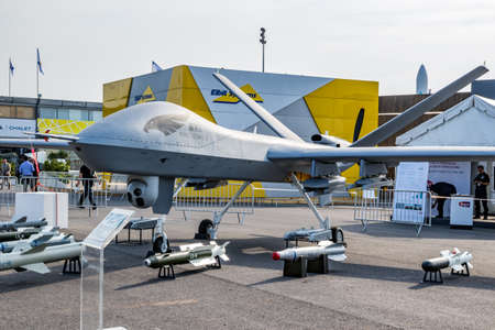 Chinese Chengdu Aircraft Industry Group (CAIG) Wing Loong II  military UAV drone showcased at the Paris Air Show. France - Jun 22, 2017