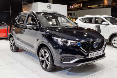 MG ZS EV electric SUV car at the Autosalon 2020. Brussels, Belgium - January 9, 2020.