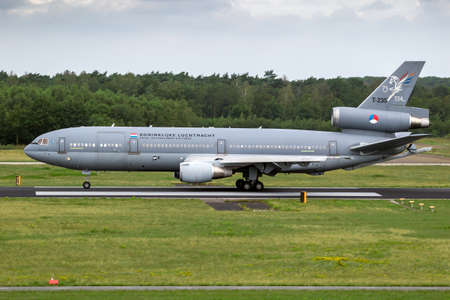 Royal Netherlands Air Force KDC-10 tanker aircraft from 334 squadron taking off from it's homebase at Eindhoven Air Base. The Netherlands - July 2, 2020