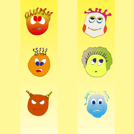 surprisingly: Pretty funny smiles emotions Illustration