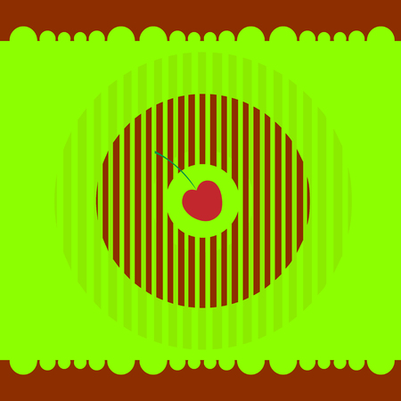 Cherry donut on a green background