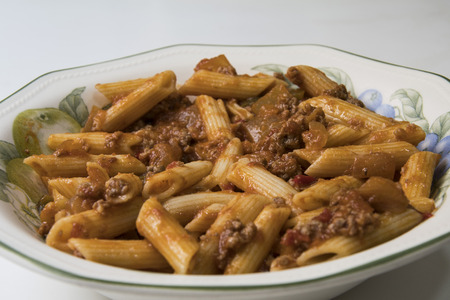 macaroni with tomato and meat Stock Photo