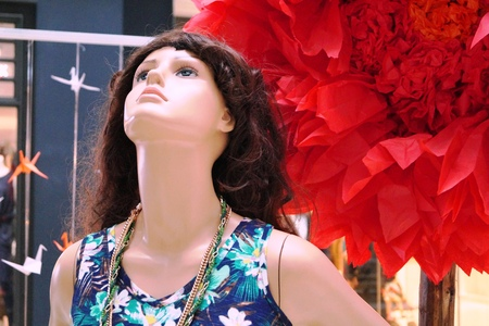 photo shoot: Dummy Model Photo shoot in an exhibition in a Mall Stock Photo