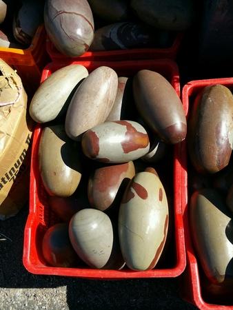 tumbled: Egg shaped tumbled stones Stock Photo