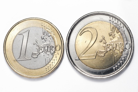 transact: A one and a two euros coins isolated on a white background