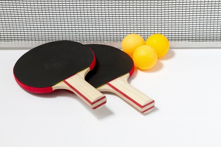 Table tennis rackets and balls photo