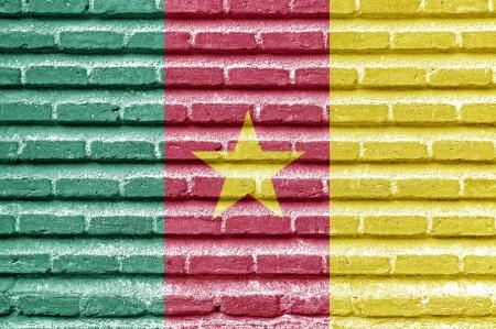 cameroon: Bandiera Camerun su un vecchio muro di mattoni Archivio Fotografico