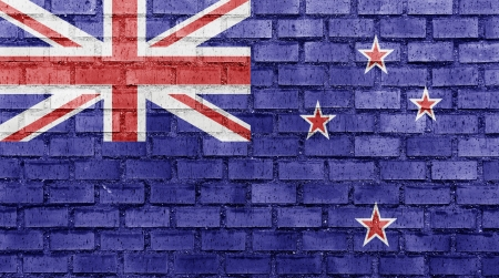 New Zealand flag on a brick wall photo