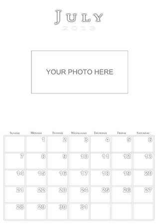 Calendar for July 2013 Stock Photo - 15733569