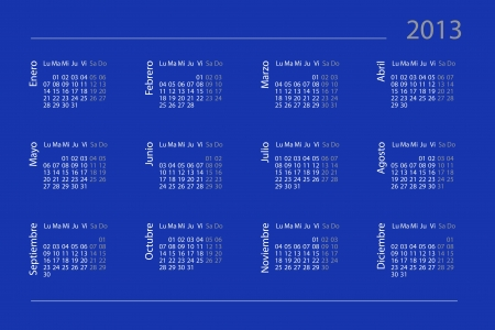 Spanish calendar for year 2013 photo