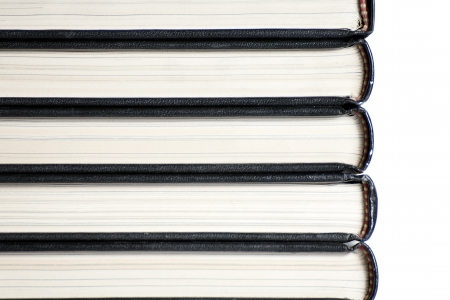 book spines: A stack of book spines on white background