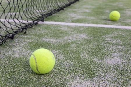 pasto sintetico: Tenis o paddle bolas en hierba sint�tica de pista de p�del con malla en el fondo
