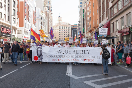 gran via: 26th Sept, 2015: Madrid, Spain. People protesting in Gran Via Street demanding a Spanish Republic during a demonstration in Madrid against Monarchy