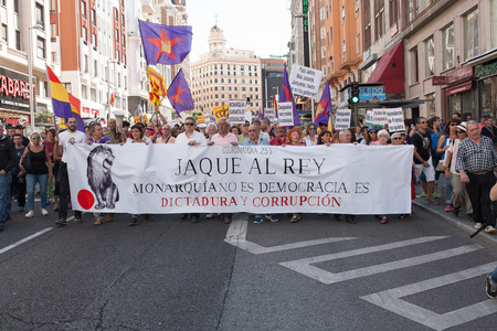 the monarchy: 26th Sept, 2015: Madrid, Spain. People protesting in Gran Via Street demanding a Spanish Republic during a demonstration in Madrid against Monarchy