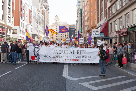 monarchy: 26th Sept, 2015: Madrid, Spain. People protesting in Gran Via Street demanding a Spanish Republic during a demonstration in Madrid against Monarchy
