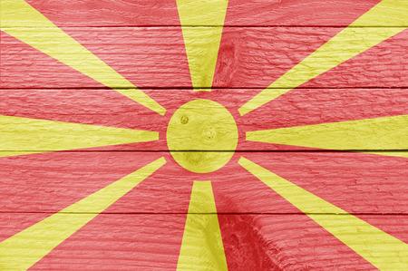 macedonian flag: The Macedonian flag on a wood plank