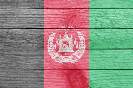afghan: Afghan flag on a wooden plank Stock Photo