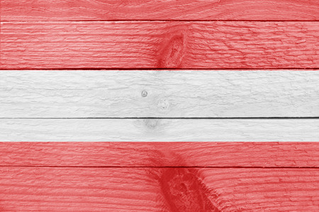 austrian: Austrian flag on a wooden plank